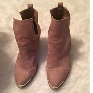 Preowned dust rose cut off booties